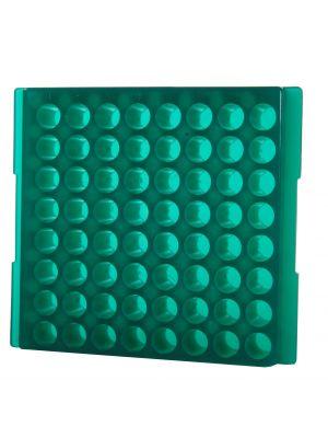 64 Well Reversible Microcentrifuge Tube Rack, Green, 5/Pack
