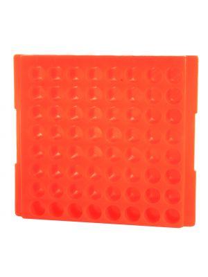 64 Well Reversible Microcentrifuge Tube Rack, Orange, 5/Pack