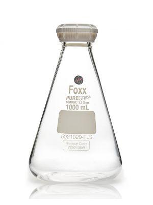 PUREGRIP® Erlenmeyer Flasks with GL45 Screw Cap, Clear, Graduated, 1000mL 10/CS