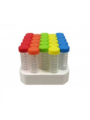 50ml Conical Bottom Centrifuge Tubes with Colored Caps, Sterile, Racked, 500/cs