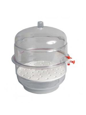 Desiccator, Vacuum, Clear Base, Polycarbonate Top and Base, 300mm ID, With Desiccator Plate