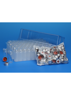 Chromatography Vials, Big Mouth Crimp Top Convenience Packs, Amber Vial, 11mm Silver Seal, Clear  PTFE/Silicone, with Graduation Spot 1000/CS