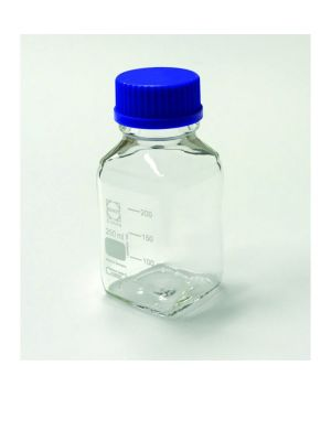 Square Shaped Borosilicate Glass Media Bottle, Narrow Mouth, GL45 Cap, 1000ml, 10/Case