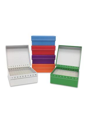 FlipTop™ Hinged Cardboard Cryo Freezer Boxes, 100-Place, Assorted, 5/Pk