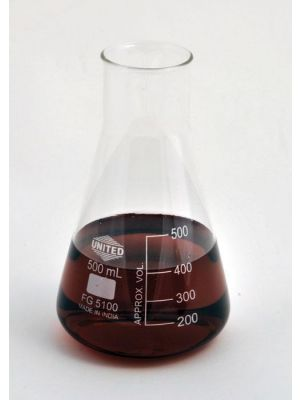Erlenmeyer Flask, Wide Mouth, Borosilicate Glass, 500ml, 6/pck