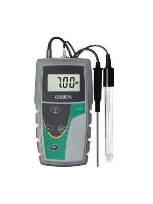 Oakton pH 5+ Portable pH Meter, with single-junction, sealed, epoxy-body electrode, ATC probe, rubber boot, and batteries
