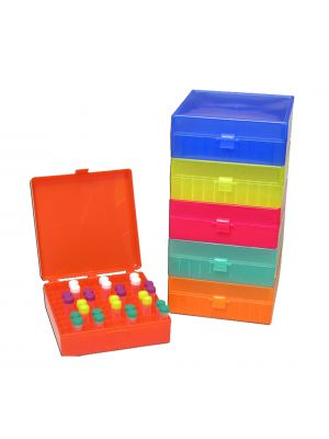 100-Cell Hinged Plastic Freezer Storage Boxes, 5/pack, Assorted Color