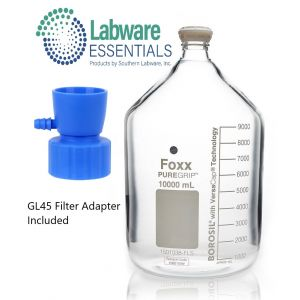 PUREGRIP® Media Bottles, Reagent, Transparent Graduated, with GL45 Filtration Adapter with Pouring Ring, 10L, 1/EA