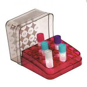 Arctic Squares® Cryogenic Tube Storage Box PC 25-Place, Red, 8/Pk