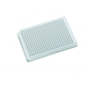 Krystal™ 384 Well Glass Bottom Microplates, White, T/C Treated, with Lid. Sterile, Individually Packed, 100/Case