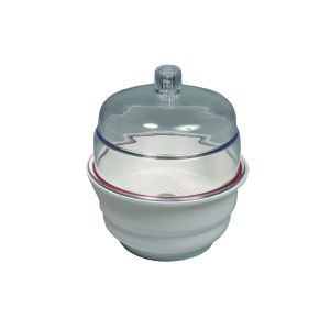 Desiccator, Non-Vacuum, White Base, Polypropylene, Base,  Polycarbonate Top, 300mm ID, With Desiccator Plate