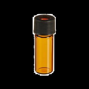 Chromatography Vials, Pre-assembled Convenience Pack, Standard Opening Screw, 8x425mm Thread, Amber Vial, Black Polypropylene Cap, PTFE/Red Rubber Septa, 0.010