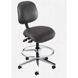 BioFit Elite (EE) Series, Elite High Bench Height Chair, Black Vinyl, without Arms, with Footring, Black