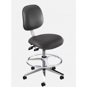 BioFit Elite (EE) Series, Elite High Bench Height Chair, Black Vinyl, without Arms, with Footring, Chrome