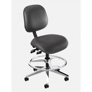 BioFit Elite (EE) Series, Elite Medium Bench Height Chair, Black Vinyl, without Arms, with Footring, Chrome