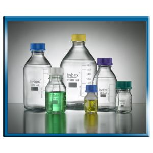 Hybex™ reusable media bottles are manufactured from high quality, borosilicate 3.3 glass, 50ml with blue cap (GL32), 10/pk.