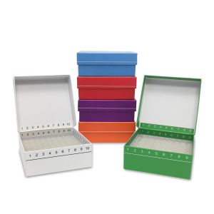 FlipTop™ Hinged Cardboard Cryo Freezer Boxes, 81-Place, Orange, 5/Pk