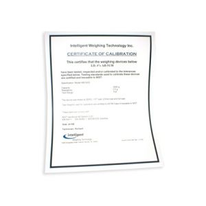 Certificate of Calibration (offical record) for all models