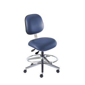 BioFit Elite (EE) Series, Elite Medium Bench Height Chair, Blue Vinyl, without Arms, with Footring, Chrome