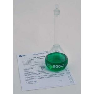 Volumetric Flask, Class A, Glass Stopper, Individually Serialized and Certified, 500ml, 1ea