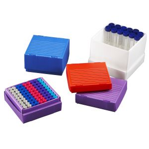 True North® Corrugated Freezer Boxes, 15 mL Tubes, 36 Place, 10/Pk, Assorted Colors