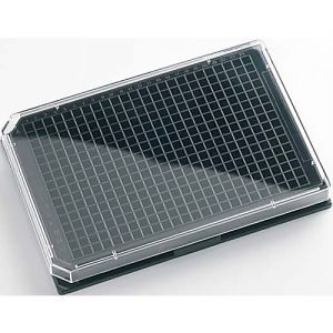 Krystal™ 384 Well Glass Bottom Microplates, Black, with Lid. Sterile, Individually Packed, 10/Case