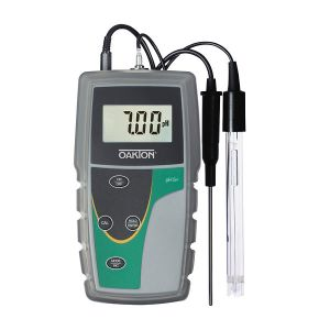 Oakton pH 6+ Meter (pH, mV and temperature), with single-junction, sealed, epoxy-body electrode, ATC probe, rubber boot, and battery ***With NIST Calibration Report***