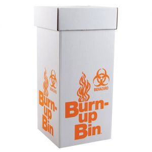 Burn Up Bin Disposal Box with Handles, Floor Model, 27x12x12