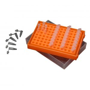 PCR workstation rack/box for 96x 0.2ml (plates, strips or individual tubes), with Translucent Lid, 5/pack