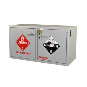 SciMatCo SC9043 Mini Stak-a-Cab™ Combination Acid/Flammables Cabinet, UL Listed, with Self-Closing Door, Acid 4 x 2.5 Liter, Flammable 4 x 1 Gallon